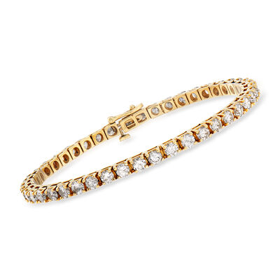 C. 1990 Vintage 7.00 ct. t.w. Diamond Tennis Bracelet in 14kt Yellow Gold, , default