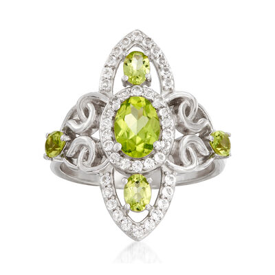 1.20 ct. t.w. Peridot and .30 ct. t.w. White Topaz Ring in Sterling Silver, , default