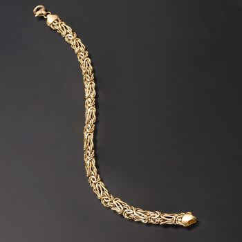 14kt Yellow Gold Textured and Polished Elongated Byzantine Bracelet. 8""