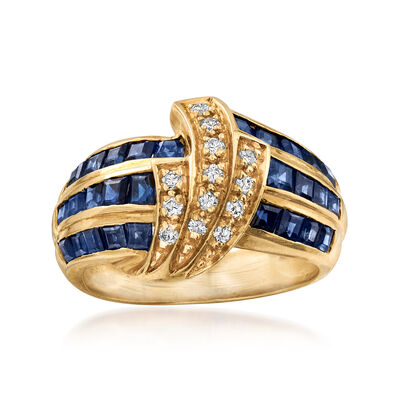 C. 1980 Vintage 1.50 ct. t.w. Sapphire and .15 ct. t.w. Diamond Ring in 18kt Yellow Gold, , default