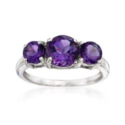 2.10 ct. t.w. Amethyst Three-Stone Ring in Sterling Silver, , default