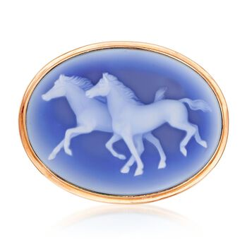 C. 1980 Vintage Carved Agate Cameo Horse Pin Pendant in 14kt Gold , , default