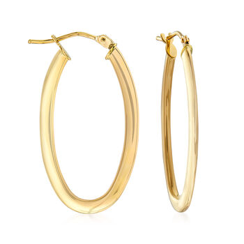"Italian 14kt Yellow Gold Oval Hoop Earrings. 1 1/8"", , default"