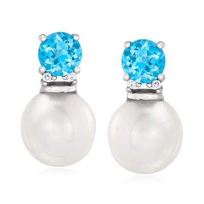 7mm Cultured Pearl and .60 ct. t.w. Swiss Blue Topaz Drop Earrings with Diamond Accents in 14kt White Gold, , default