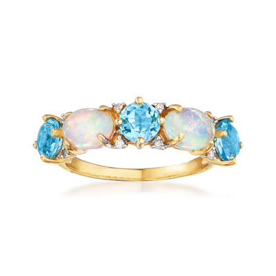 Opal and 1.80 ct. t.w. Swiss Blue Topaz Ring with Diamond Accents in 14kt Yellow Gold