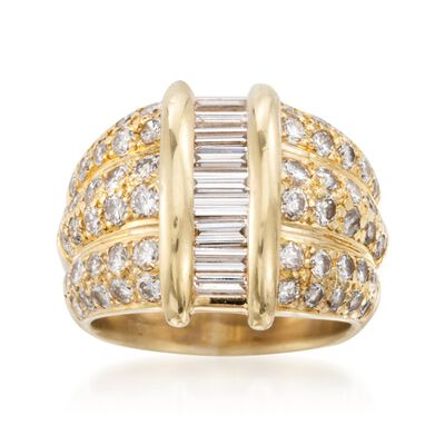 C. 1980 Vintage 2.25 ct. t.w. Baguette and Round Diamond Dome Ring in 18kt Yellow Gold, , default