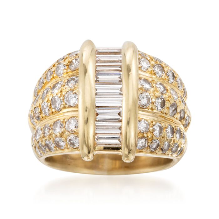 C. 1980 Vintage 2.25 ct. t.w. Baguette and Round Diamond Dome Ring in 18kt Yellow Gold. Size 5, , default