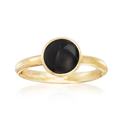 Italian 8mm Black Onyx Ring in 14kt Yellow Gold