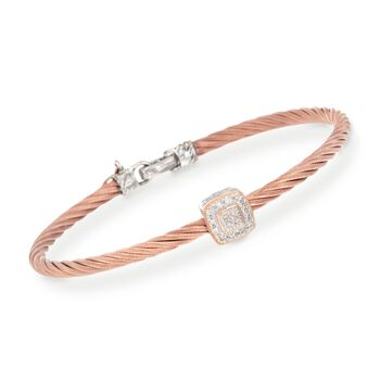 "ALOR ""Classique"" Rose Cable Station Bracelet With Diamond Accents and 18kt Gold. 7"", , default"