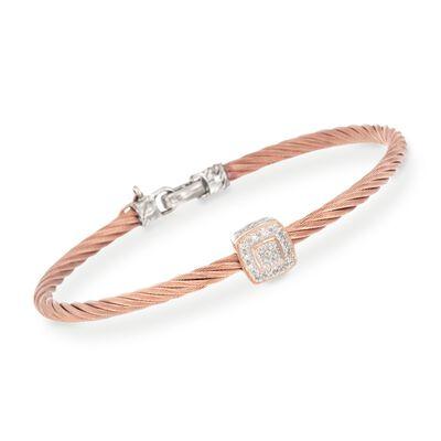 "ALOR ""Classique"" Rose Cable Station Bracelet With Diamond Accents and 18kt Gold, , default"