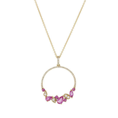 .70 ct. t.w. Pink Sapphire and .23 ct. t.w. Diamond Pendant Necklace in 18kt Yellow Gold