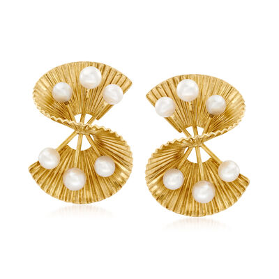 C. 1960 Vintage 3.5-4mm Cultured Pearl Double-Fan Earrings in 14kt Yellow Gold