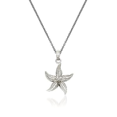 14kt White Gold Starfish Pendant Necklace, , default