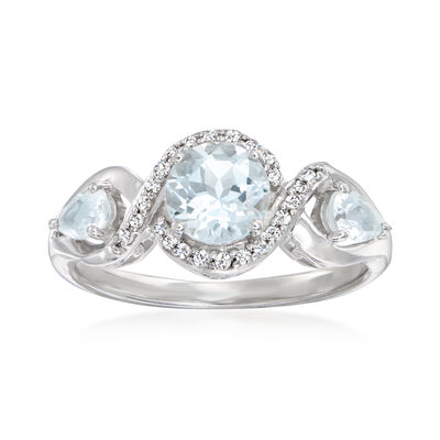 1.10 ct. t.w. Aquamarine and .84 ct. t.w. Diamond Ring in Sterling Silver