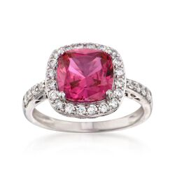 Cushion-Cut Simulated Ruby and .55 ct. t.w. CZ Ring in Sterling Silver, , default