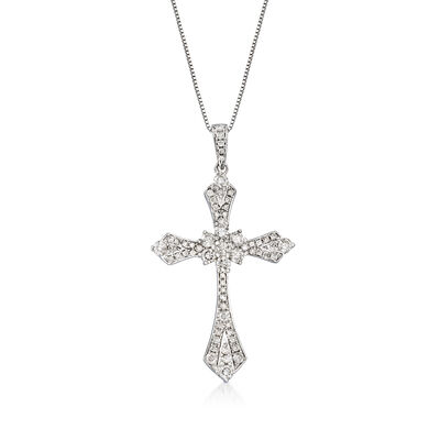 .75 ct. t.w. Diamond Cross Pendant Necklace in 14kt White Gold