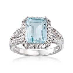 2.95 Carat Aquamarine and .25 ct. t.w. Diamond Ring in Sterling Silver, , default