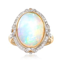 Opal and .46 ct. t.w. Diamond Ring in 14kt Yellow Gold, , default