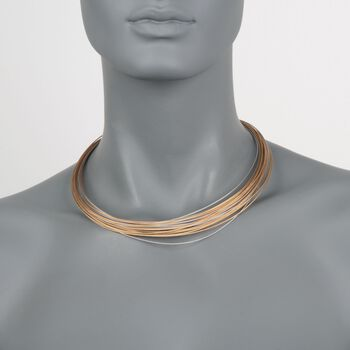 """ALOR """"Classique"""" Tri-Colored Stainless Steel Cable Multi-Strand Necklace. 17"""", , default"""