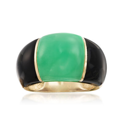 Green Jade and Onyx Dome Ring in 14kt Yellow Gold, , default