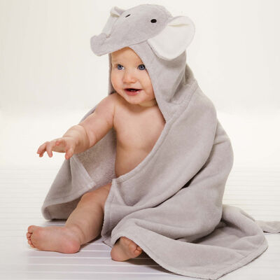 Elegant Baby Hooded Elephant Personalized Bath Towel , , default