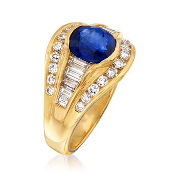 C. 1980 Vintage 1.62 Carat Sapphire and .90 ct. t.w. Diamond Ring in 18kt Yellow Gold. Size 6