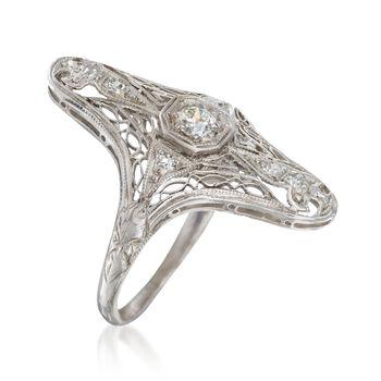 C. 1920 Vintage .25 ct. t.w. Diamond Dinner Ring in Platinum. Size 5.75, , default