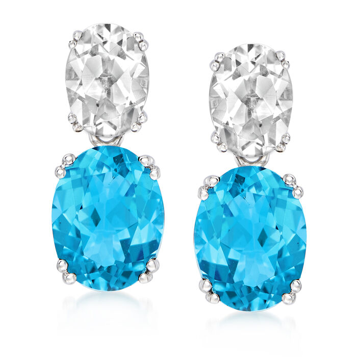 6.80 ct. t.w. Swiss Blue and White Topaz Drop Earrings in Sterling Silver
