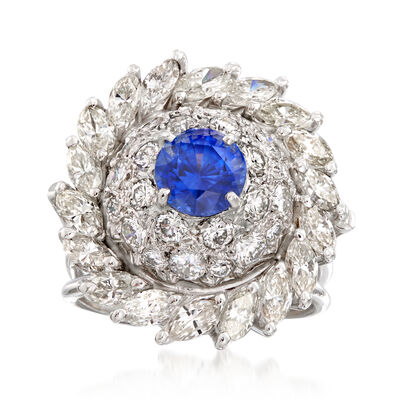 C. 1970 Vintage 3.75 ct. t.w. Diamond and 1.50 Carat Sapphire Cluster Ring in 18kt White Gold, , default
