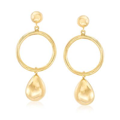Italian 14kt Yellow Gold Open-Circle Teardrop Earrings , , default