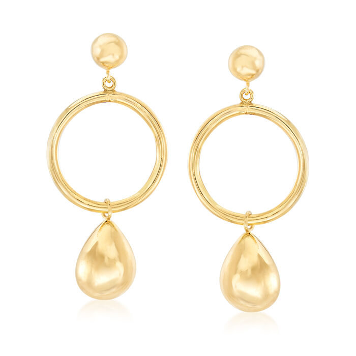 Italian 14kt Yellow Gold Open-Circle Teardrop Earrings
