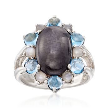 Gray Star Sapphire Cabochon Ring With Moonstone and 1.00 ct. t.w. Blue Topaz in Sterling Silver, , default