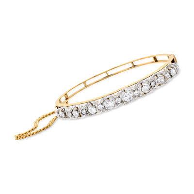 C. 1950 Vintage 3.00 ct. t.w. Diamond Bangle Bracelet in 14kt Yellow Gold