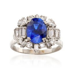 C. 1970 Vintage 2.65 Carat Sapphire and 1.10 ct. t.w. Diamond Ring in 18kt White Gold. Size 6, , default