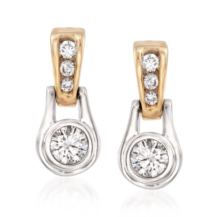 .60 ct. t.w. Diamond Drop Earrings in 14kt Two-Tone Gold