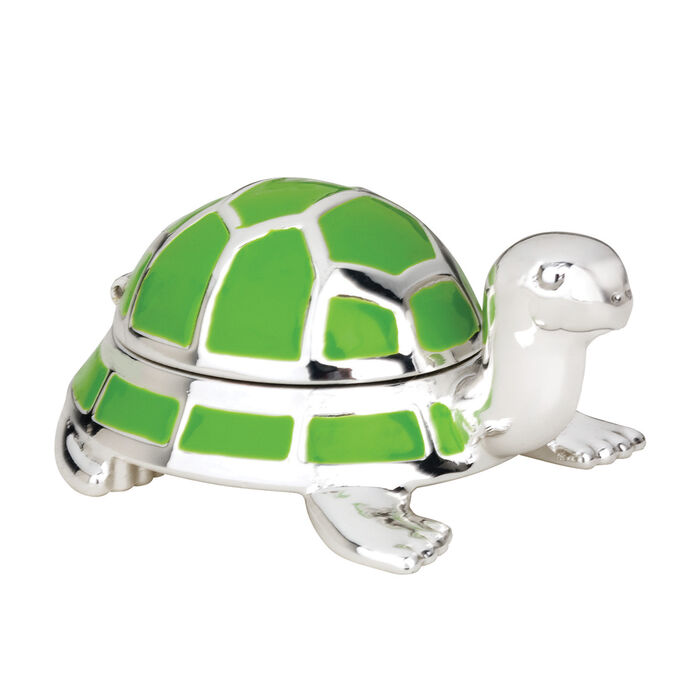 "Reed & Barton ""Jungle Parade"" Enamel and Silver Plate Turtle Tooth Fairy Box"