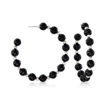 Black Onyx Bead J-Hoop Earrings in Sterling Silver