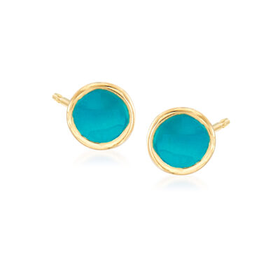 Turquoise Enamel Stud Earrings in 14kt Yellow Gold, , default