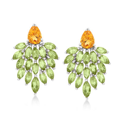 5.00 ct. t.w. Peridot and 1.50 ct. t.w. Citrine Cluster Drop Earrings in Sterling Silver , , default