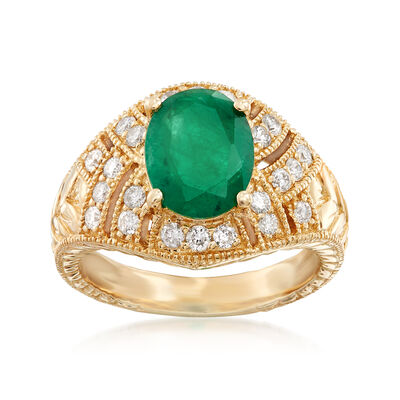 1.80 Carat Emerald and .48 ct. t.w. Diamond Ring in 14kt Yellow Gold, , default
