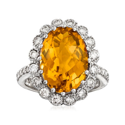 C. 1990 Vintage 5.35 Carat Citrine and 1.05 ct. t.w. Diamond Ring in 14kt White Gold, , default