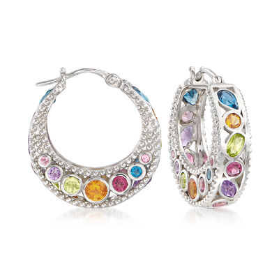 6.70 ct. t.w. Multi-Stone Hoop Earrings in Sterling Silver, , default