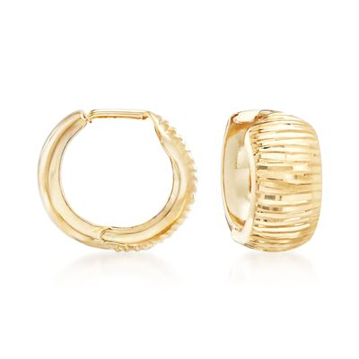 14kt Yellow Gold Diamond-Cut Huggie Hoop Earrings
