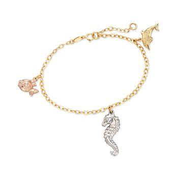"""14kt Tri-Colored Gold Sealife Charm Bracelet. 7"""", , default"""