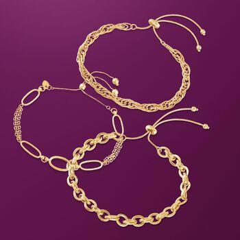14kt Yellow Gold Bolo Bracelet , , default
