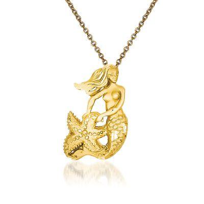 14kt Yellow Gold Mermaid Pendant Necklace, , default