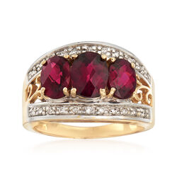 C. 1990 Vintage 3.80 ct. t.w. Rhodolite Garnet and .25 ct. t.w. Diamond Ring in 14kt Yellow Gold, , default