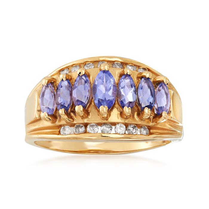 C. 1980 Vintage 1.00 ct. t.w. Tanzanite and .25 ct. t.w. Diamond Ring in 14kt Yellow Gold. Size 6.75
