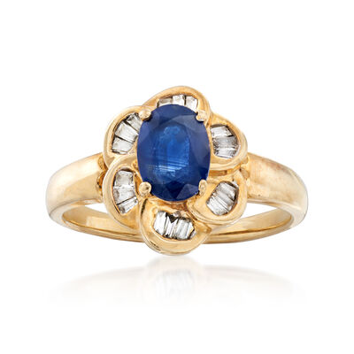 C. 1980 Vintage .90 Carat Sapphire and .25 ct. t.w. Diamond Ring in 14kt Yellow Gold, , default