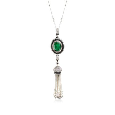 34.35 ct. t.w. Multi-Stone and Cultured Pearl Tassel Pendant Necklace in 18kt White Gold, , default